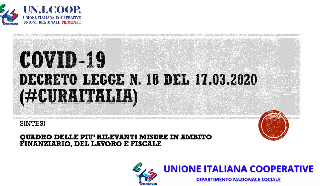 COVID-19: SINTESI DECRETO LEGGE N. 18 DEL 17 MARZO 2020 #CURAITALIA