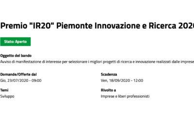 """APERTO IL BANDO PIEMONTE INNOVAZIONE E RICERCA, PREMIO """"IR20"""""""