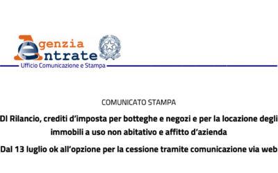 DAL 13 LUGLIO CESSIONE TELEMATICA DEI CREDITI D'IMPOSTA PER LE LOCAZIONI