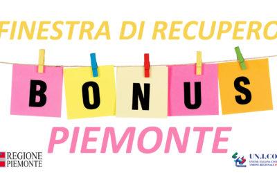 FINESTRA DI RECUPERO BENEFICIARI BONUS PIEMONTE