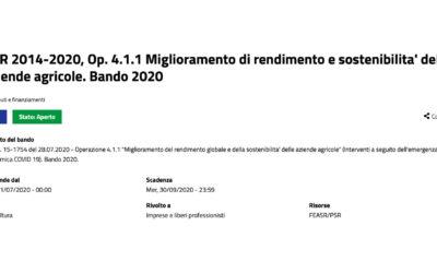 """Apertura Bando 2020: PSR 2014-2020. Op. 4.1.1 """"Miglioramento di rendimento e sostenibilita' delle aziende agricole"""""""