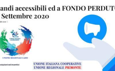 Bandi accessibili ed a FONDO PERDUTO – Settembre 2020 – da UNICOOP LAZIO