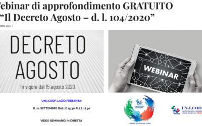 """Webinar Gratuito """"Decreto Agosto – d.l. 104/2020"""" – 22/09/2020 – h. 15.30/17.30"""